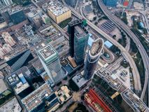 Business District of Hong Kong. From drone view Stock Photo