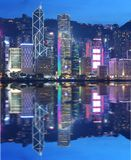 Business district in Hong Kong at dusk. royalty free stock photography