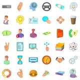 Business district icons set, cartoon style. Business district icons set. Cartoon set of 36 business district vector icons for web isolated on white background Royalty Free Stock Photos