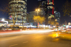 Business district of Istanbul at night near Kanyon shopping center, Levent Royalty Free Stock Photo