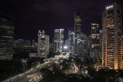 Business district of Jakarta at night royalty free stock photos