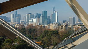 The business district of La Défense, Paris, France. View of the business district of La Défense from the Louis Vuitton foundation at the Bois de Boulogne Royalty Free Stock Photography