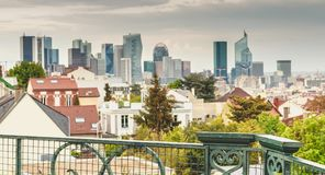 Business district of La Defense with its tall buildings royalty free stock photos