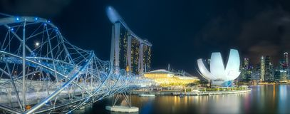 Business district and Marina bay in Singapore Royalty Free Stock Images