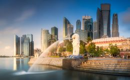 Business district and Marina bay in Singapore. View of business district and Marina bay skyline at sunrise in Singapore Stock Photography