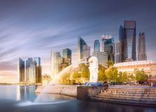 Business district and Marina bay in Singapore Royalty Free Stock Photography