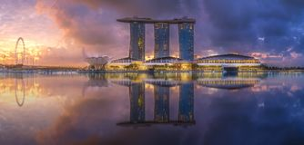 Business district and Marina bay in Singapore. View of business district and Marina bay skyline at sunrise in Singapore stock photo
