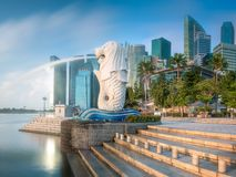 Business district and Marina bay in Singapore Stock Image