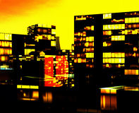 Business District at Night. Artwork Stock Images