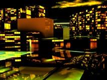 Business District at Night. Artwork Stock Photos