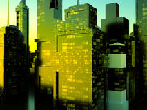Business District at Night. Artwork Royalty Free Stock Photos