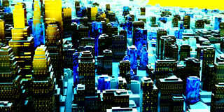 Business District at Night. Artwork Royalty Free Stock Image