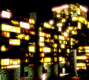 Business District at Night. Artwork Stock Photo