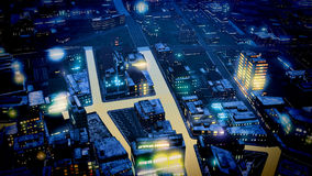Business District at Night. Artwork Royalty Free Stock Images