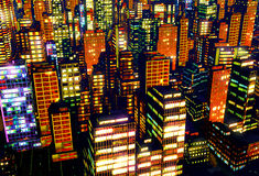 Business District at Night. Business District in the  Night Stock Image
