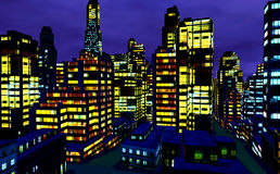 Business District at Night. Business District in the night Stock Images
