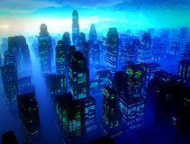 Business District at Night. Hight rise business district  offices at night Stock Photo