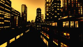 Business District at Night. Business District in city at Night Royalty Free Stock Photos