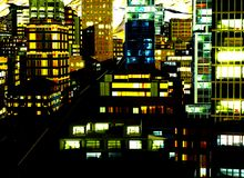 Business District at Night. Business District in city at Night Stock Image