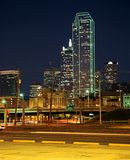 Business district at night, Dallas, USA. Stock Images