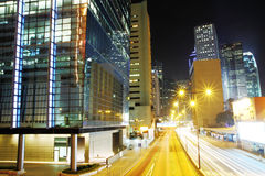 Business District at Night. Hong Kong. Royalty Free Stock Photos
