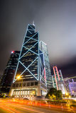 Business District at Night with Light Track Royalty Free Stock Photo