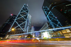 Business District at Night with Light Track Stock Image