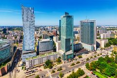 Business district in Warsaw, Poland Royalty Free Stock Photos