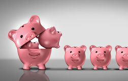 Business Diversification. Concept as a financial growth strategy for new markets for investment growth as an open piggy bank with a group of smaller piggybanks royalty free illustration