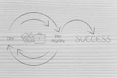 Business docs and bag icon into Try and Try Again until Success. Graph with repetitive cycle and arrows, concept of being good at your job Royalty Free Stock Image