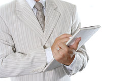 Business document. The successful businessman in a light suit Royalty Free Stock Photography