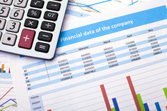 Business document. Calculator. Finance data Stock Images