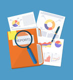 Business document concept. Documents folder, financial report with graphs, magnifying glass and pen. vector illustration in flat style Royalty Free Stock Photo