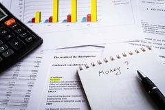 Business document. Financial income statement and chart and graph. stock photography