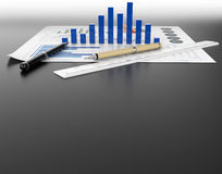 Business document graph and stationary tool background Stock Image