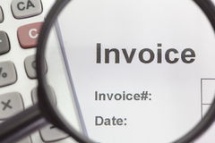 Business Document Invoice. Closed up Business Document Invoice Royalty Free Stock Image