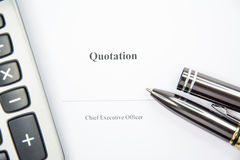 Business document quotation waiting to sign on white background Royalty Free Stock Image