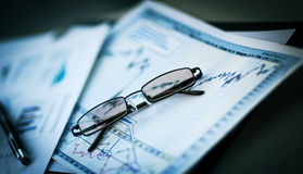 Business documents with charts growth Stock Photography