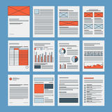 Business documents and company papers template. Corporate business documents template, company presentation files layout, financial data and marketing research Royalty Free Stock Photography