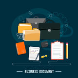 Business documents concept. Poster concept with icons of business documents via management and organization ideas symbol and workplace elements in flat design Royalty Free Stock Photos