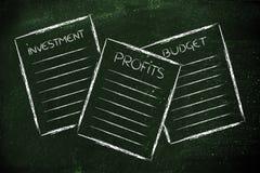 Business documents: investment, profits, budget. Set of business documents about investment, profits, budget vector illustration