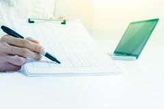 Business documents on office table with laptop computer,document Stock Photography