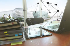 Business documents on office table with smart phone and digital. Tablet as work space business with social network diagram concept royalty free stock photography