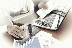 Business documents on office table with smart phone Stock Photography