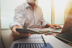 Business documents on office table with smart phone Royalty Free Stock Photo