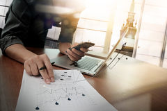 Business documents on office table with smart phone Royalty Free Stock Photography