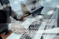 Business documents on office table with smart phone Stock Image