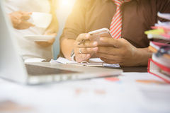 Business documents on office table Stock Images