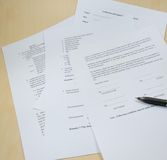 Business documents. Business documents on the table in the office royalty free stock photography