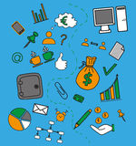 Business doddle elements. In bright colors Royalty Free Stock Photo